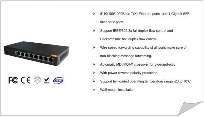 8 gigabit port + 1 gigabit SFP fiber optic ports non managed